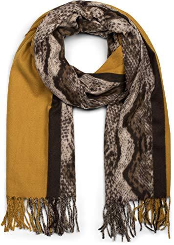 styleBREAKER Damen Schal mit Schlangen Muster und farbigem Streifen, lange Fransen, Winter, Stola 01017111, Farbe:Senf