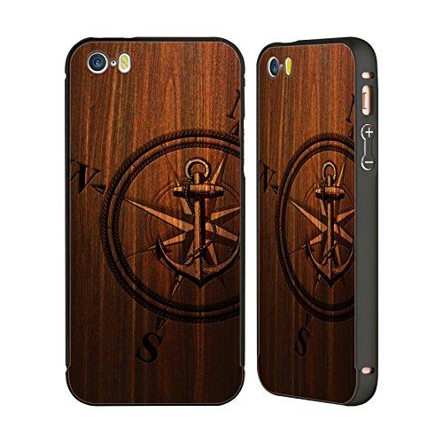 Offizielle Nicklas Gustafsson Holz Anker Texture Schwarz Rahmen Hülle mit Bumper aus Aluminium für Apple iPhone 5 / 5s / SE Holz Anker