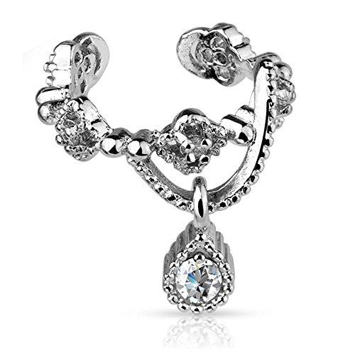 Cuff Fake Ear (Bungsa® Ornament Ear Cuff Clip Kette mit Kristallanhänger silber (Ohrstecker Conch Fake Piercing Studs Ohrringe Ohrhänger Ohrschmuck Ohrklemmen Damen Frauen Herren Mode))