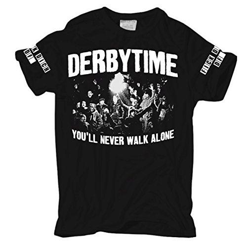 Männer und Herren T-Shirt Stadion Ultras Hooligans Revier Derbysieger Körperbetont schwarz