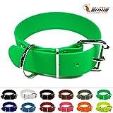 LENNIE BioThane Halsband, Edelstahl-Rollschnalle, 38 mm breit, Größe 45-55 cm, Neon-Grün, Aufdruck möglich