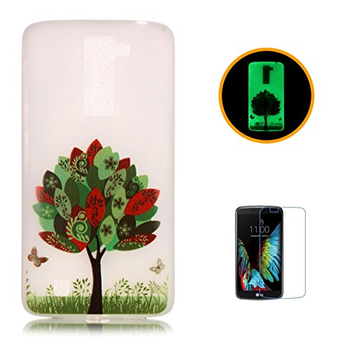 CaseHome LG K10 Luminous Hülle (Mit Frie Displayschutzfolie) Leuchtende Silikone Rückhülle Für iPhone 6 6s Plus 5.5 Zoll Zoll Silikon Etui Handy Hülle Weiche Transparente Luminous TPU Back Case Tasche Bunte Blätter Schmetterling