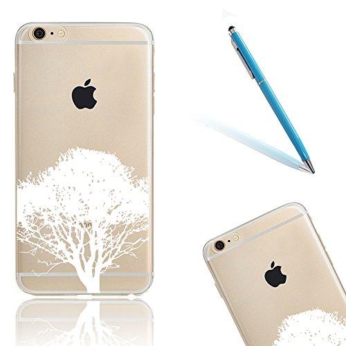 iPhone 7 Gel Coque,Apple iPhone 7 (4,7 Pouces) Étui,CLTPY [Cerise Peint Motif Style] Transparente Bling Brillante Diamant Silicone Shell pour iPhone 7,Ultra Slim Super Léger Anti-Rayures Souple TPU Bu Blanc Arbre