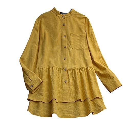 iHENGH Damen Herbst Winter Bequem Lässig Mode Frauen Langarm Shirt Baumwolle Leinen gestreift lässig lose Bluse Button Tops(S,Gelb) -