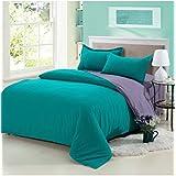 Juego de ropa de cama juego de cama de microfibra cepillada arruga Fade resistentes a las manchas hipoalergénico 4piezas 1Set, Green-grey, 2.2M Bedding