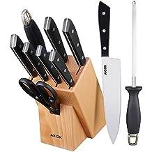 Aicok cuchillos, set de cuchillos de acero inoxidable con soporte de madera. Incluye 6 cuchillos diferentes, una tijera, un afilador y un soporte de madera.