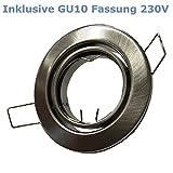 Metall Einbaustrahler Eisengebürstet Rund schwenkbar ideal für LED mit GU10 Fassung 230V (GU10 Eisengebürstet)