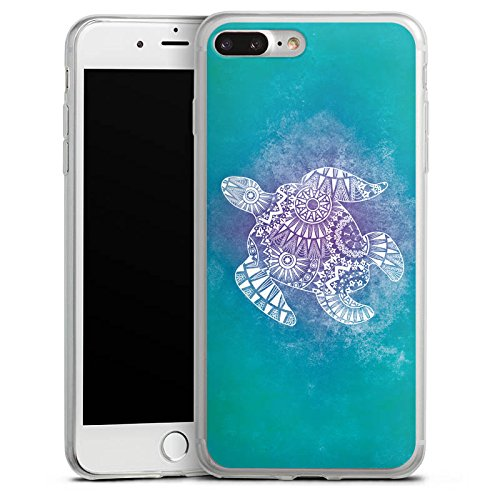 Apple iPhone X Slim Case Silikon Hülle Schutzhülle Mandala Turtle Schildkröte Muster Silikon Slim Case transparent
