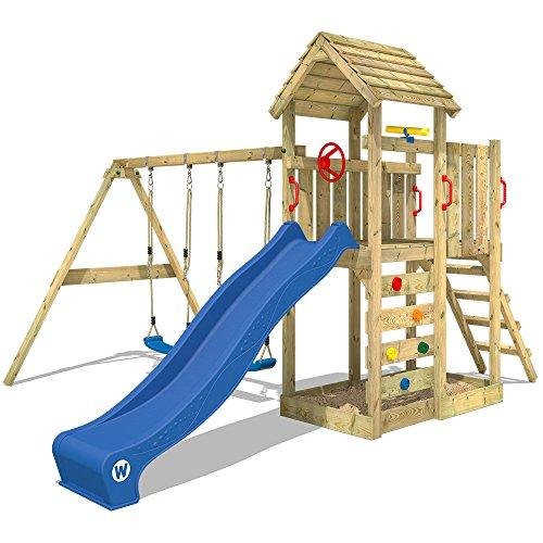 WICKEY Klettergerüst MultiFlyer - Spielturm mit massivem Holzdach, Schaukel, Sandkasten, Kletterwand und blauer…