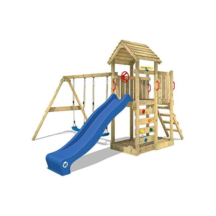 Gut gemocht WICKEY Kletterturm MultiFlyer Spielturm mit Holzdach Garten KV36