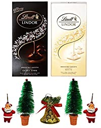 Lindt Lindor Combo of 2 Irresistibly Smooth Chocolates (White + Extra Dark), 100gm Combined with X'MAS GOODIES