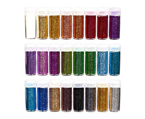 0g (240g) Glitzer-Puder-Set bunt, Glitter-Pulver in 24 Farben, Bastel-Staub in Dose mit Streu-Deckel, Deko-Sand ideal zum Basteln für Kinder, Set zur Dekoration von Karten & Papier ()