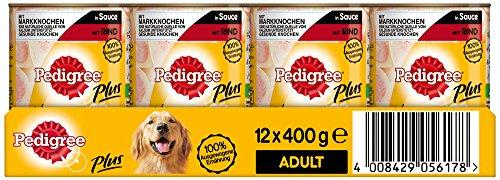 Pedigree Adult Plus Hundefutter Markknochen - Rind in Sauce, 12 Dosen (12 x 400 g)