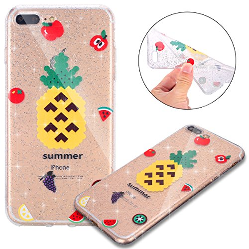 Custodia iPhone 7 Plus, Case Cover iPhone 8 Plus in Silicone Glitter TPU, Surakey Bumper iPhone 7 / 8 Plus Cover Morbida Gomma Premium Semi Hybrid Crystal Clear Cassa del Telefono con Disegno Cartoon Ananas