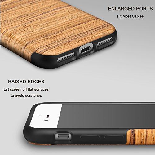 TENDLIN iPhone 8 Plus Hülle Holz [Exakt-Anpassen] Flexiblem TPU Silikon Hybrid Weiche Schutzhülle für iPhone 7 Plus und iPhone 8 Plus (Rotes Sandelholz) Santos Rose Wood