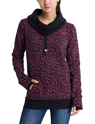 Bench Damen Sweatshirt Her. Corp Open Neck Funnel Printed, Mehrfarbig (Animal Black Beauty/Very Berry P1333), Large (Herstellergröße: L) (Womens Open Neck)