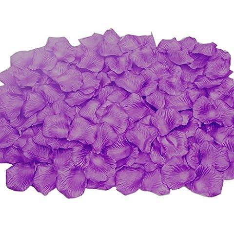 FEITONG 2000pcs Silk Rose Petals Fleur artificielle Confetti Wedding Favor Bridal Shower Aisle Decor (Violet)