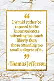 Telecharger Livres I Would Rather Be Exposed To The Inconveniences Attending Too Much Liberty Than Those Attending Too Small A Degree Of It Gold Marble Thomas Jefferson Quote Notebook (PDF,EPUB,MOBI) gratuits en Francaise
