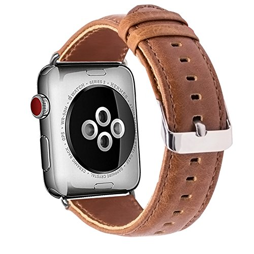 Armband für Apple Watch, MroTech Leder Armband Vintage Echtleder Uhrenarmband für iWatch Series 1, Series 2, Series 3, Apple Watch Sport Edition und Nike+ (42mm, Retro-Braun)