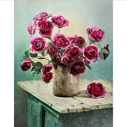 CBUSYS Blumen Auf Dem Holztisch Handgemalte Kreative Digitale Ölgemälde 24 Farbe Pigment Pinsel Malerei DIY Malen Nach Zahlen