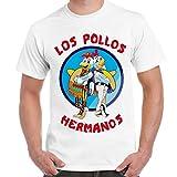 T-Shirt Serie TV Breaking Bad Maglietta Uomo Con Stampa Los Pollos Hermanos CHEMAGLIETTE! ..., Colore: Bianco, Taglia: L