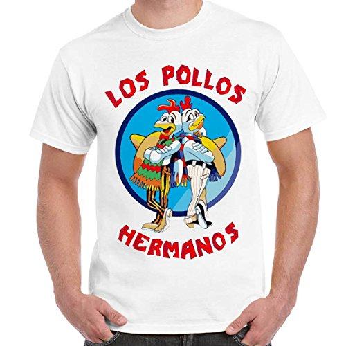 T-Shirt Serie TV Breaking Bad Maglietta Uomo Con Stampa Los Pollos Hermanos CHEMAGLIETTE! ..., Colore: Bianco, Taglia: M