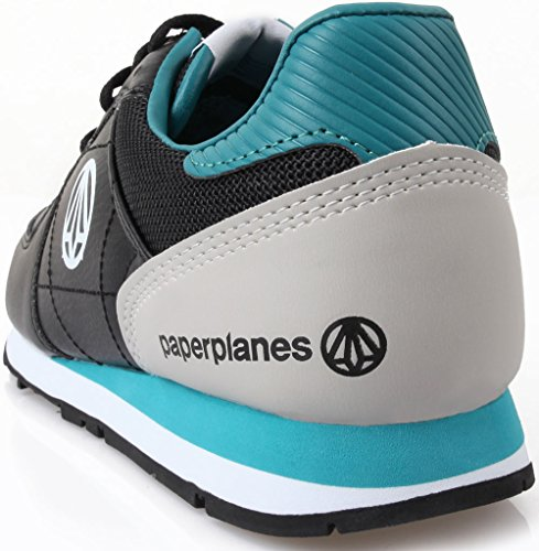 Paperplanes - 1160 Unisex Fashion Chaussures de sport Baskets en cuir robuste Noir - noir