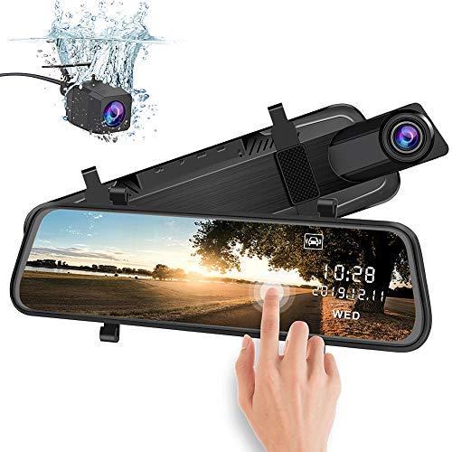 AWESAFE Rückspiegel Kamera Dual Autokamera 1080P 10 Zoll FHD Touchscreen 170 Grad Weitwinkel mit Nachtsicht, Parkmodus, Bewegungserkennung,Loop-Aufnahme, G-Sensor