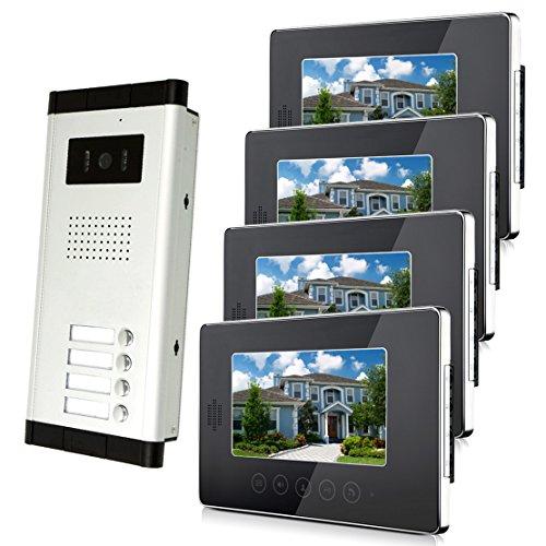 "Amocam 4 Units Apartment Intercom Wired 7"" Monitor Video Intercom Doorbell Door Phone Audio Visual Intercom Entry Access System"