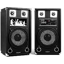 oneConcept BSX-10A set casse (2 casse altoparlanti attive e passive, subwoofer 25 cm, 120 Watt di potenza, ingressi USB e SD, ingressi AUX e RCA, tecnologia bass reflex) - nero