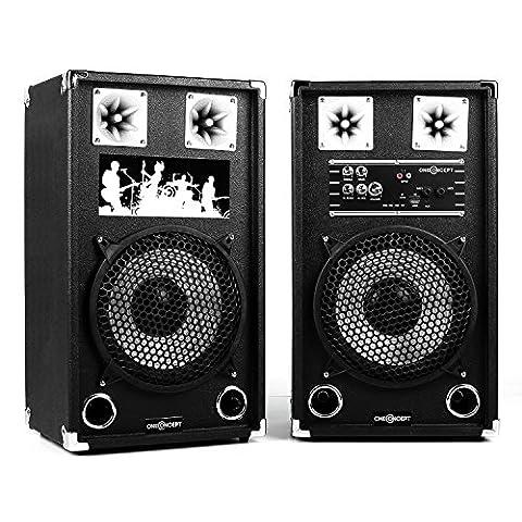 oneConcept BSX-10A • PA Lautsprecher • PA Boxenpaar • aktives 2-Wege Lautsprecher-System • 120 Watt Peak-Leistung • MP3-fähiger USB-Port • SD-Slot • 10'' (25 cm)-Subwoofer • Power LED • Echo-Effekt • 2-Band Equalizer • Bassreflexgehäuse • schwarz