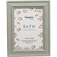 """PAL301957S Paloma Photo Frame 5x7"""" (13x18cm) Sage Green Painted Distressed Wood Finish. Drop in Backs with Swivel Clips. 30mm Wide Country Shabby Chic Design"""