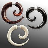 Fly Style Fake Piercing Spirale | Fakeplug aus Horn, Knochen oder Holz Verschiedene Modelle | organischer Schmuck, Materialwahl:Horn