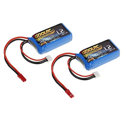 GoolRC 2pcs 7.4V 1200mAh 25C JST Plug LiPo Batteria per WLtoys A949 A959 A969 A979 K929 RC Car V353 Quadcopt