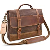 Best Laptops For Students - NEWHEY Genuine Leather Canvas Messenger Bag Waterproof Vintage Review