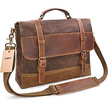 284c654ece9 ... shoulder satchel crossbody  NEWHEY Genuine Leather Canvas Messenger Bag  Waterproof Vintage Large 15 Computer Laptop Mens Womens Messenger Bag ...