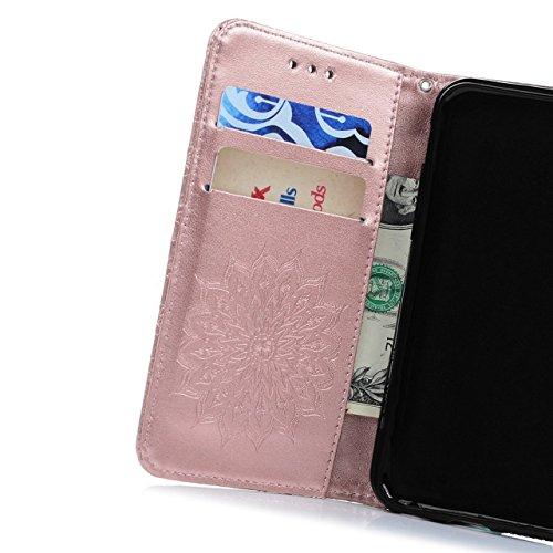 Sunroyal Etui Lederhülle für Samsung Galaxy S6 Edge Diamant Bling 3D Rhinestone Book Type Schutzhülle Magnetverschluss PU Leder Hülle Flip Tasche Wallet Case Cover HandyHülle Bookstyle Brieftasche mit Licht Rosa 03