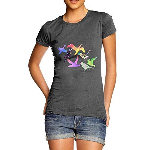 Damen Rainbow Birds T-Shirt Dunkelgrau