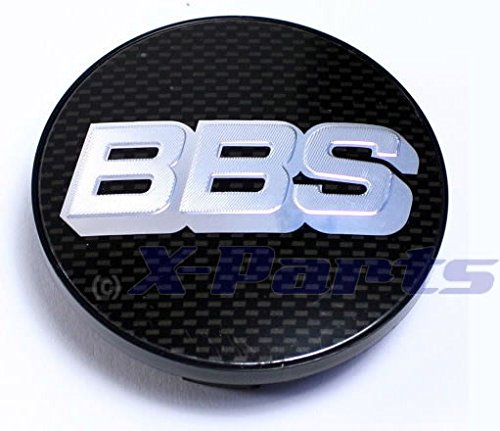 BB0924467 Cache central pour jante alu avec logo BBS argenté/chromé sur fond aspect carbone 70 mm Pour barre d'extension avec anneau de retenue