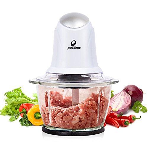 elektrischer zerkleinerer POSAME Elektrisch Universalzerkleinerer, Multi-Zerkleinerer, schneider, Fleischwolf, Küchenhelfer für Obst und Gemüse mit 2 Edelstahl Messer (Standard 304, Lebensmittelqualität) und 1L Glasbehälter