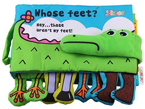 EEvER Schöne Lernaktivität Spielzeug Baby Krokodil Tuch Bücher Squeak Crinkle Füße Buch Puzzle Spielzeug als Geschenke für Boy & Girl