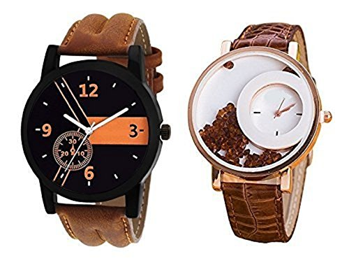 Mishva Analog Multi-color Dial Leather Strap Wrist Pack of 2