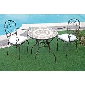 Tavolo in ferro battuto da giardino con mosaico in pietra - Tavolo in pietra giardino ...