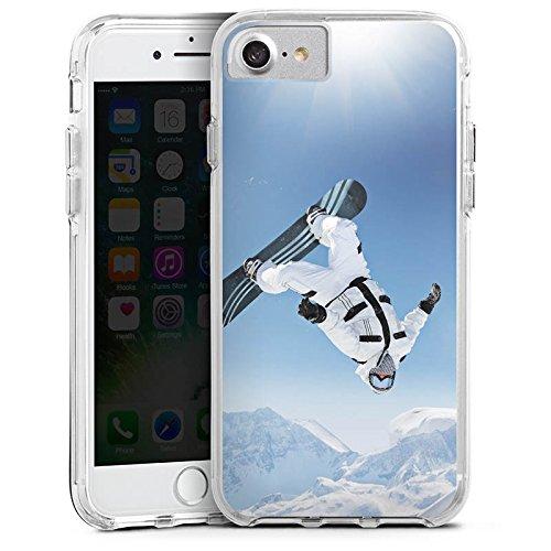 Apple iPhone X Bumper Hülle Bumper Case Glitzer Hülle Snowboard Snow Schnee Bumper Case transparent