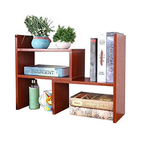 AFDK Regale Einfaches ausziehbares Bücherregal Kinder Kreativität Computer Desktop Lagerregal Kleines Bücherregal auf dem Schreibtisch,Mahagoni -