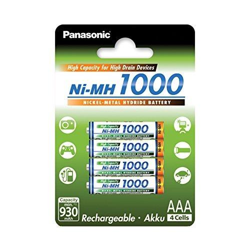 Panasonic High Capacity, Akku Ni-MH 1000, AAA Micro, 4er Pack, min. 930 mAh, Hochkapazitäts-Akku mit extrastarker Leistung (Nimh-aaa Panasonic)