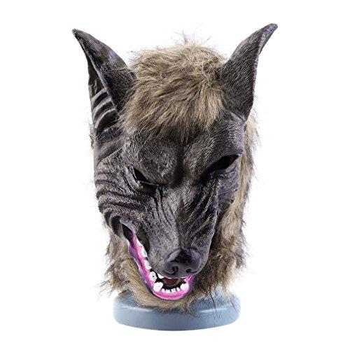 (YCDC Latex Animal Wolf Kopf mit Haar Maske Kostüm Party Scary Halloween)