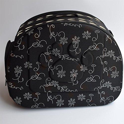 Transportbox, VOSMEP EVA Faltbare Mode Atmungsaktive Katzen Hunde Hamster Kaninchen Reise Haustier Käfig (Schwarz) PA001
