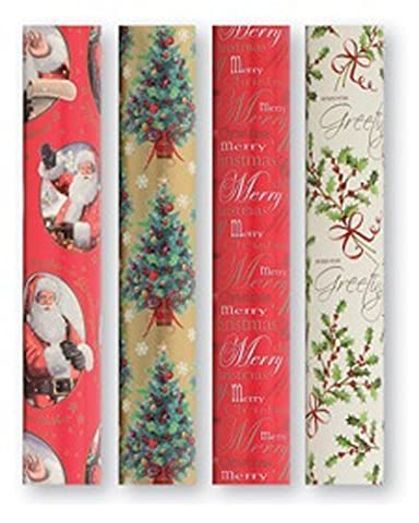 4 Rolls X 5M Noël Papier Cadeau D'emballage Rouleau Traditionnel Designs