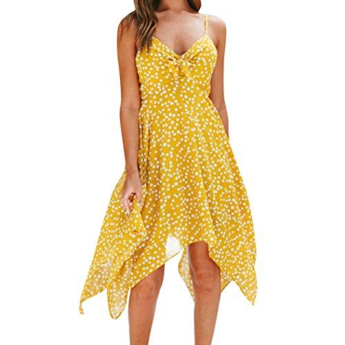 Strand Kleid Boho Backless Dot Printing Schulterfrei Sleeveless Strandkleid(Gelb,EU-42/CN-XL) (Pablos Escobar Kostüm)